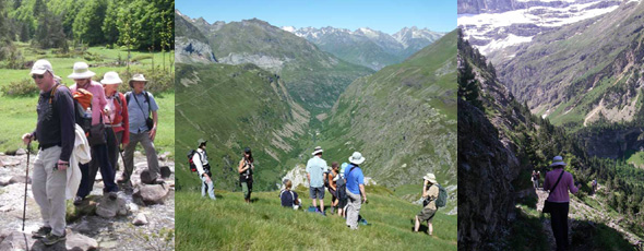 Hiking group with Mountainbug in the Pyrenees