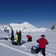 Ski touring Pyrenees - putting the skins on