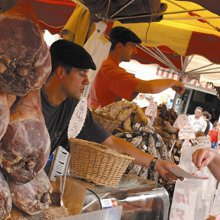 Argeles farmers market on a Guided Pyrenees walking holiday