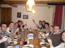 Dinner time at Les cailloux one of the only catered ski chalets in the Pyrenees