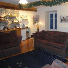 The Pyrenees ski chalet living room at Christmas