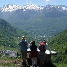 Lookout point, St. Justin on an Explorer level Pyrenees guided walking holiday
