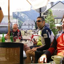 Post cycle beers, Cirque de Gavarnie, road biking holiday Pyrenees