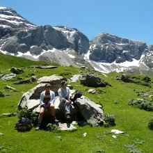 Pyrenees walking - rock stop in the Cirque de Troumouse